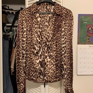Tahari leopard print blouse